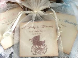 baby carriage favors tea bags